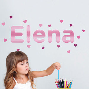 Personalised Hearts Childrens Name Wall Stickers - wall stickers
