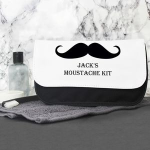 Moustache Personalised Wash Bag For Him
