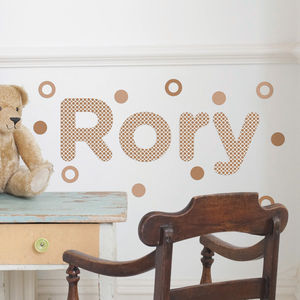 Personalised Hollow Circles Childs Name Wall Stickers - personalised