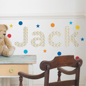 Personalised Multi Polka Dot Childs Name Wall Stickers