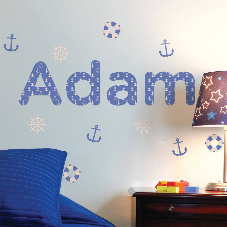 personalised nautical childrens name wall stickers by the personalised childrens bus wall sticker parkins interiors