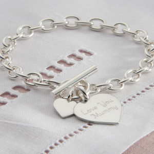 Personalised Solid Sterling Silver Heart Bracelet - women's jewellery
