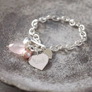 Personalised Solid Sterling Silver Heart Bracelet