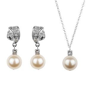 Rhinestone And Pearl Earring And Necklace Set