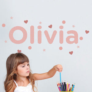 Personalised Polka Dot Childrens Name Wall Stickers