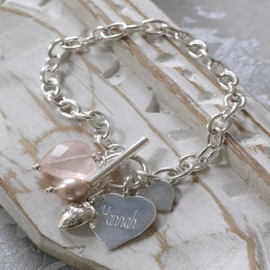 Personalised Rose Quartz Sterling Silver Heart Bracelet - bracelets & bangles