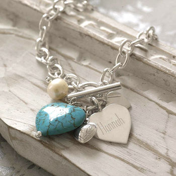 Personalised Sterling Silver And Turquoise Bracelet