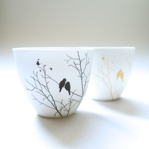 Set Of Two China Bird Votives