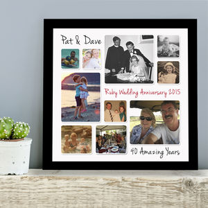 Personalised Ruby Wedding Anniversary Photo Collage - personalised