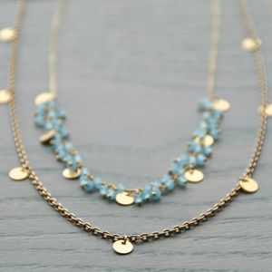 Gold Disc Gemstone Necklace