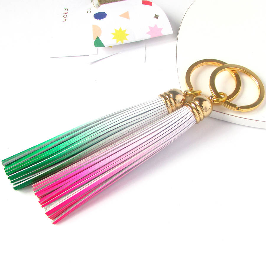 Ombre Leather Tassel Keyring
