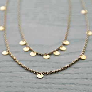 Gold Disc Charm Necklace - charm jewellery