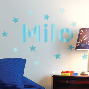 Personalised Stripes Childrens Name Wall Stickers