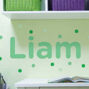 Personalised Zig Zag Childrens Name Wall Stickers