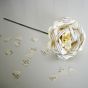 Newspaper Style Print Personalised Paper Rose - room decorations