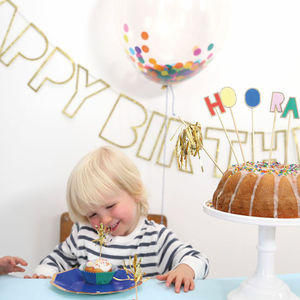 Happy Birthday Gold Glitter Garland - summer parties