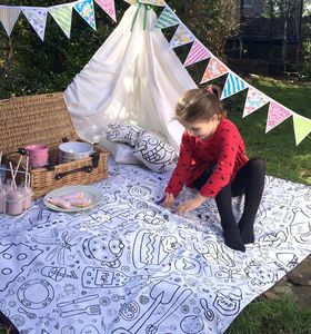 Colour In Picnic Blanket - Garden Games & Activities