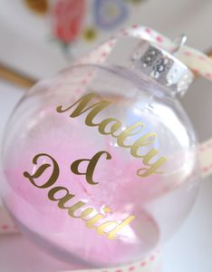 Personalised Gold Script Feather Bauble - tree decorations