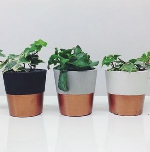Copper Dipped Cement Plant Pot - vases