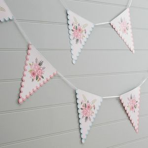 Pink And White Floral Bunting
