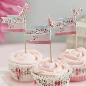 Pink And White Floral Cake Toppers - cake toppers & decorations