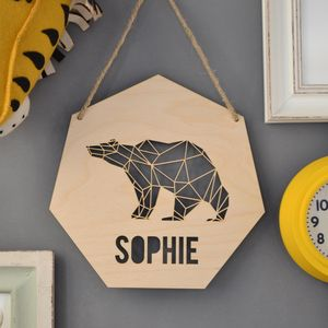 Personalised Geometric Bear Sign - children's room