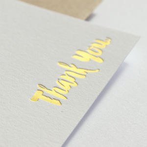 Gold Foil Thank You Cards In Brush Script - shop by category