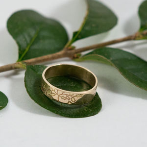 Botanical Wedding Bands In 14ct Yellow Gold - wedding & engagement rings