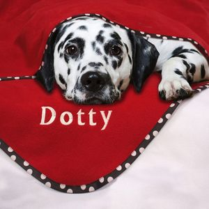 Personalised Spotty Trim Pet Blanket - dogs