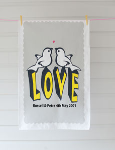 Personalised Love Birds T Towel - kitchen