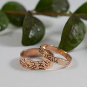 Botanical Wedding Bands In 9ct Rose Gold - wedding & engagement rings