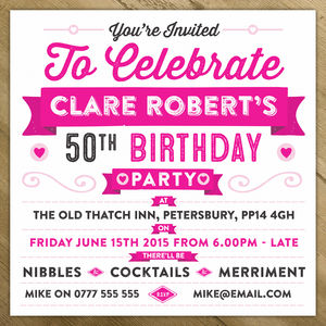 Personalised Celebration Birthday Party Invite - invitations