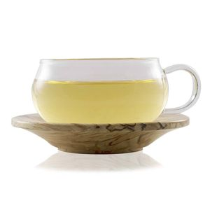 Glass Cup And Wooden Saucer 200ml - cups & saucers