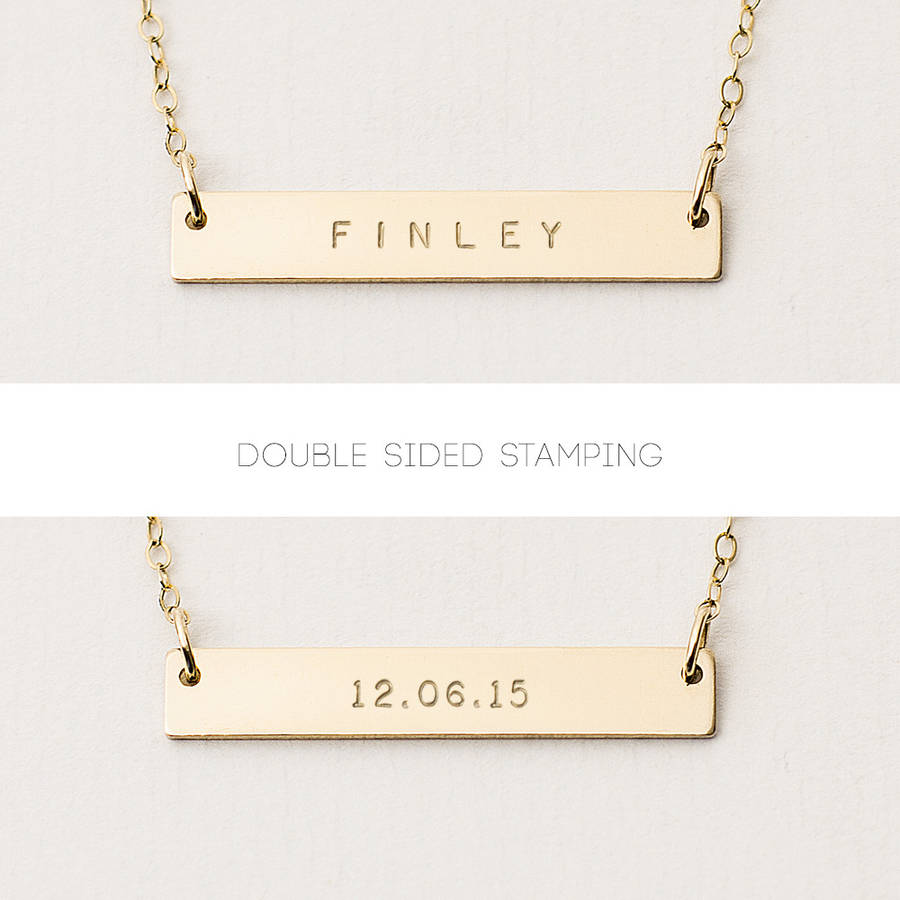 Reversible personalised bar necklace by minetta jewellery reversible personalised bar necklace aloadofball Images