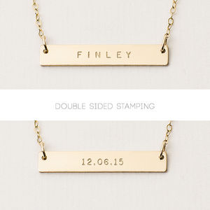 Reversible Personalised Bar Necklace - wedding fashion