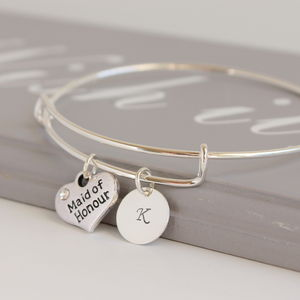Personalised Bridesmaid Maid Of Honour Bangle - new in jewellery