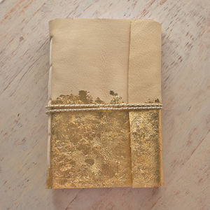 Gold Leaf Smoke Deer Leather Journal - gifts for teenagers