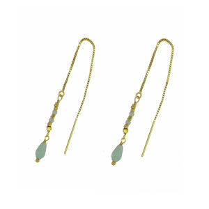 Amazonite Drop Earrings Pull Through Style - earrings