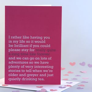 'Really Quite A Long Time Like Forever' Card - valentine's cards