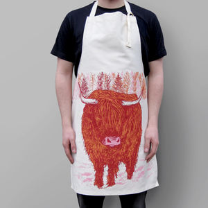 Trusty Highland Cow Apron - cooking & food preparation