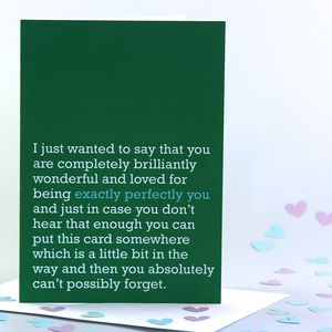 'Exactly Perfectly You' Card - shop by category