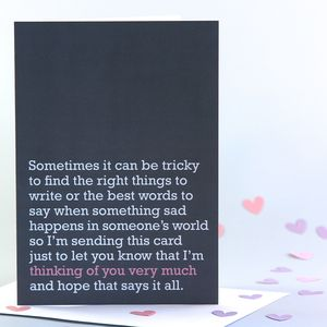 'Thinking Of You Very Much' Card - sympathy & sorry cards