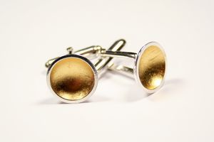 Gold Leaf Dome Cufflinks