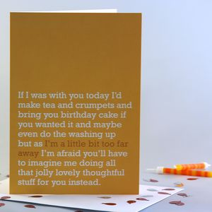 'A Little Bit Too Far Away' Birthday Card - birthday cards