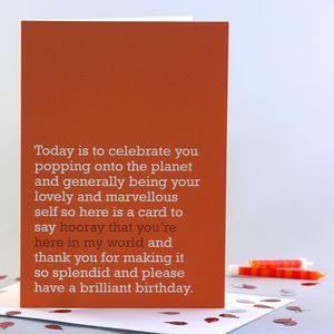 'Hooray That You're Here' Birthday Card - funny cards