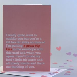 'A Great Big Kiss' Thinking Of You Card - sentimental cards
