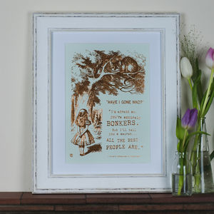 Alice In Wonderland Metallic Foil Print - pictures & prints for children