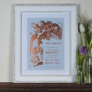 Alice In Wonderland Metallic Foil Print - shop by price