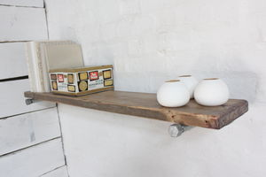 Jake Wood Shelf With Galvanised Steel Brackets - storage & organising