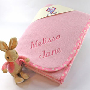 Personalised Blanket With Flopsy Bunny Rattle